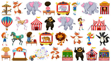 Huge circus collection with mixed animals, people, clowns and rides illustration