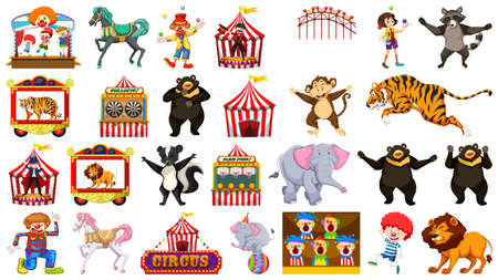 Enorme circuscollectie met afbeeldingen van verschillende dieren, mensen, clowns en attracties Vector Illustratie