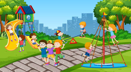 Active boys and girls playing sport and fun activities outside illustration