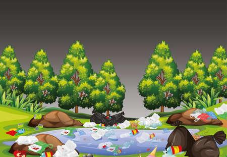 rubbish in park scene illustration Standard-Bild - 127695416