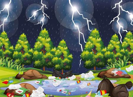 Rubbish in park scene illustration Standard-Bild - 127696893
