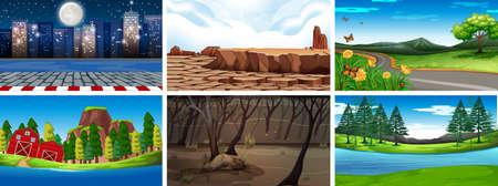 Day and night nature scenes  illustration  イラスト・ベクター素材