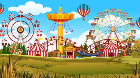 outdoor scene featuring an amusement park Illustration