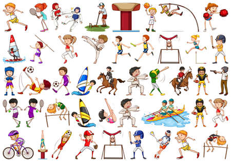 Sport activities by boys, girls, kids, athletes isolated illustration
