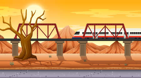 Western desert themed scene in nature illustration Illustration