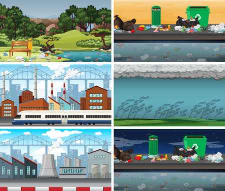 Set of polluted scenes illustration Standard-Bild - 127696833