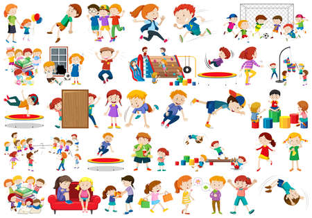Boys, girls, children in educational fun activty theme illustration