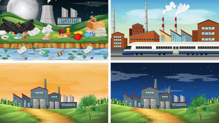 Set of polluted scenes illustration Standard-Bild - 127796150