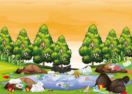 Rubbish in park scene illustration Standard-Bild - 127796152