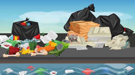 Rubbish in street scene illustration Standard-Bild - 127796163
