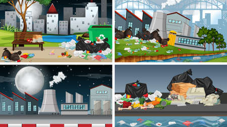 Set of polluted scenes illustration Standard-Bild - 127796119