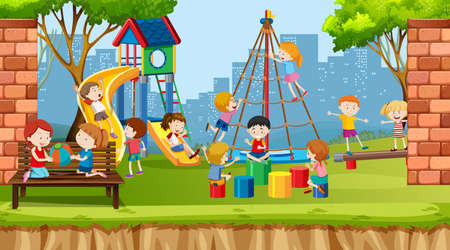 Active boys, girls and friends playing sport activities outdoors illustration