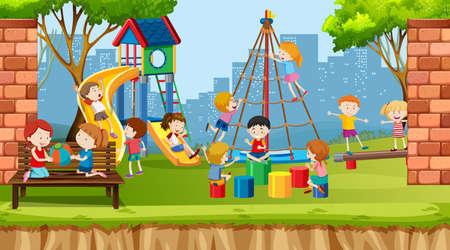 Garçons, filles et amis actifs jouant à des activités sportives en plein air illustration