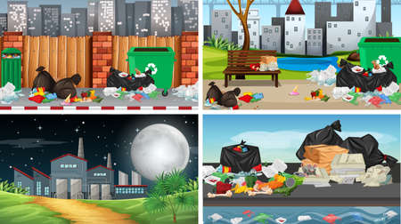 Set of polluted scenes illustration Standard-Bild - 127848629