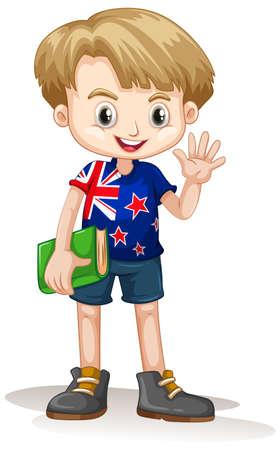 Niño sonriente feliz lindo aislado en la ilustración de fondo blanco