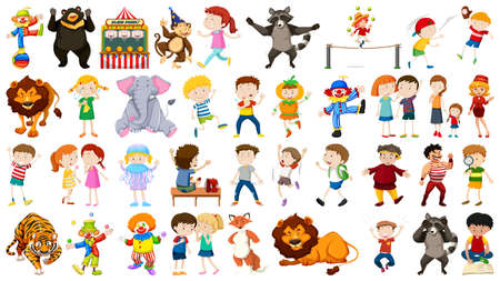 Huge circus collection with mixed animals, people, clowns and rides illustration Vector Illustration