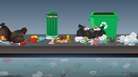 Rubbish in street scene illustration Standard-Bild - 127848813