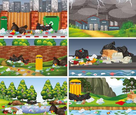 Set of polluted scenes illustration Standard-Bild - 127848816
