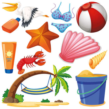 Set of isolated objects theme summer holiday illustration Ilustração