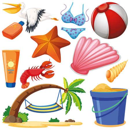 Set of isolated objects theme summer holiday illustration Illustration