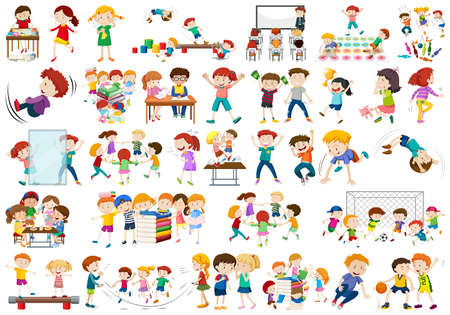 Boys, girls, children in educational fun activty theme illustration