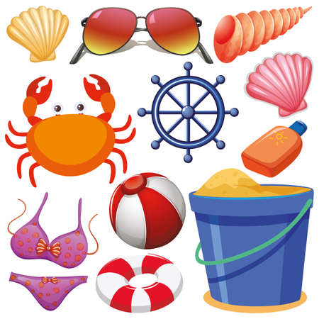 Set of isolated objects theme summer holiday illustration Stock Vector - 128569419