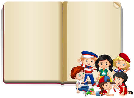 Banner template design with kids and book illustration 矢量图像