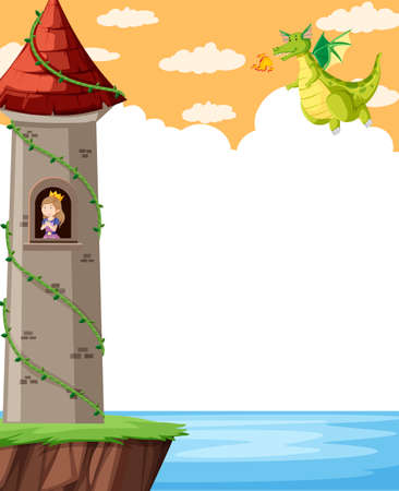 Fantasy castle with princess illustration Çizim