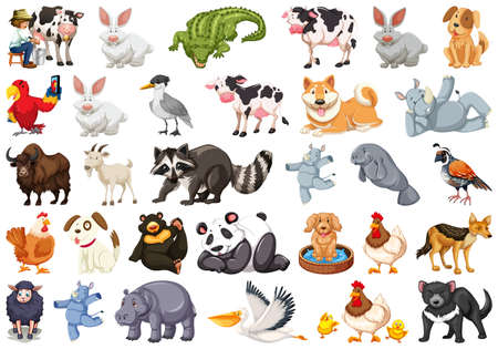 Diverse set of isolated animals on white illustration 向量圖像