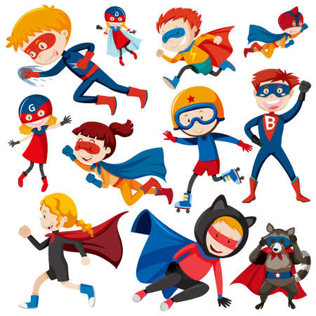 Superheroes in blue and red outfit illustration Illustration
