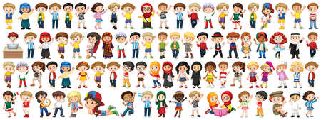 Children with different nationalities on white background illustration Vetores