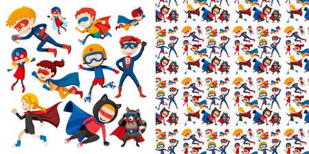 Seamless background design with superhero flying illustration Illustration