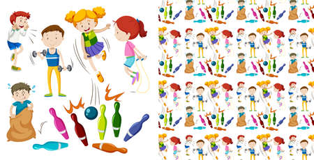 Seamless background design with kids doing sports illustration