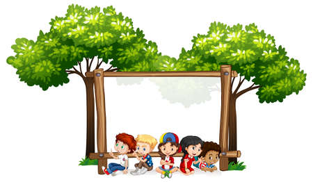 Blank sign template with kids and trees illustration