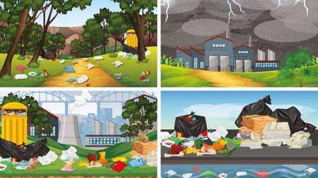 Set of polluted scenes illustration Standard-Bild - 128277402