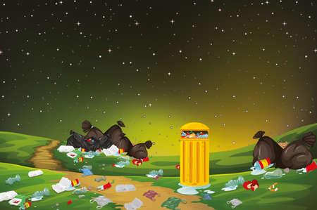 rubbish in park scene illustration Standard-Bild - 128277638