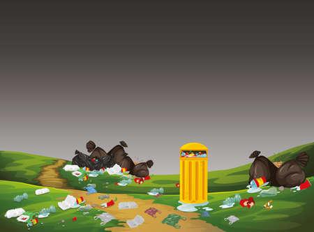 Park scene with rubbish illustration