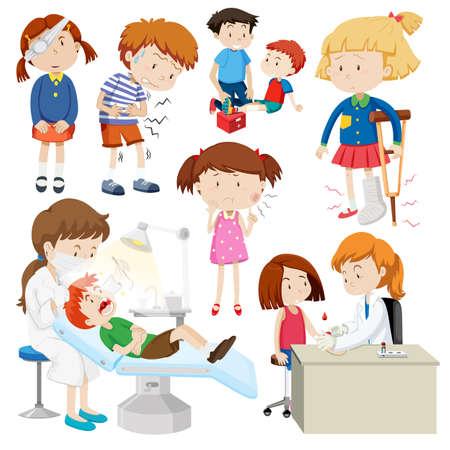 Children with different sickness illustration Stock Illustratie