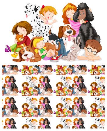 Sfondo senza soluzione di continuità con illustrazione di bambini e animali domestici