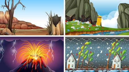 Set of polluted scenes illustration Standard-Bild - 128343734