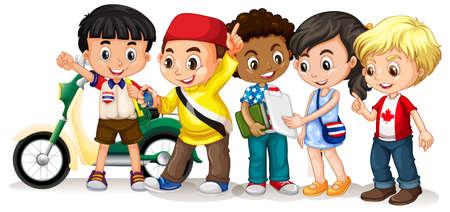 Niños felices en diferentes acciones ilustración.