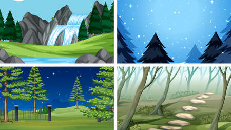 Set of outdoor nature scenes blank empty templates illustration