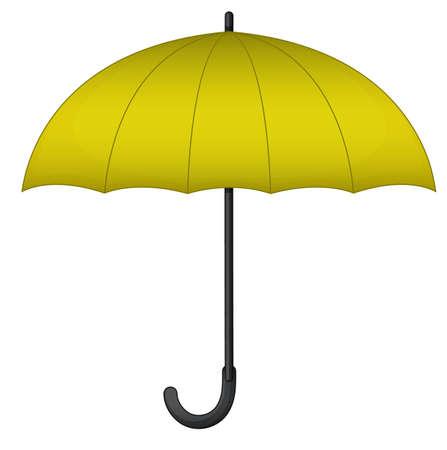 Yellow umbrella on white