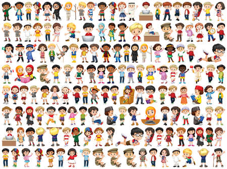 Enfants de différentes nationalités sur blanc