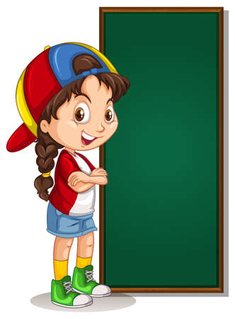 Banner template design with girl and green board Illustration