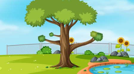 Ilustración de plantilla de paisaje de escena de naturaleza