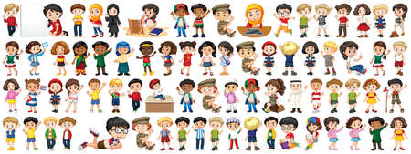 Children with different nationalities on white