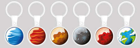 Keychain template design with different planets illustration Standard-Bild - 129244804