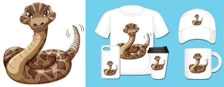 Wild snake on different product designs illustration 向量圖像