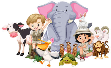 Children and wild animals on white background illustration
